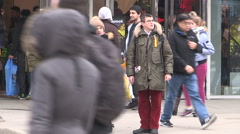 Toronto boxing day crowds shoppers and busy malls and parking Stock Footage
