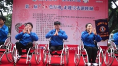 Youth with disabilities in the show, in Shenzhen, China - stock footage