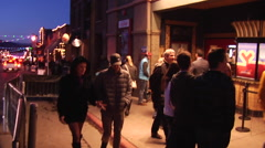 People outside Egyptian Theater at Sundance Film Festival - stock footage