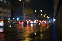 defocused traffic jam - stock photo