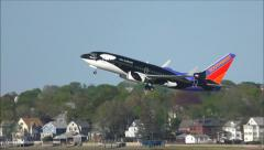 Southwest Airlines Seaworld airplane takes off - stock footage