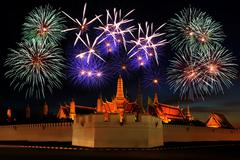Firework display above the temple Stock Photos