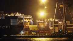 ODESSA - DECEMBER 26 (TIMELAPSE): Trading port activity at night time. Container Stock Footage