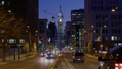 City Hall from Broad St at Night Stock Footage