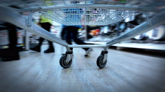 HD 4K (3840X2160) UHDTV: crazy fast speed of supermarket trolley Stock Footage