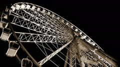 Budapest Eye - famous Ferris wheel's spinning fast in the night Stock Footage