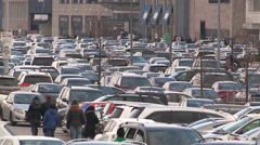 Toronto boxing day crowds shoppers and busy malls and parking - stock footage