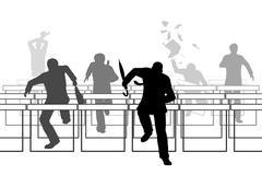Hurdling businessmen Piirros