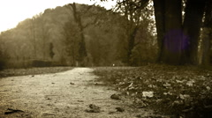 Old film effect: a little boy jumps in an autumnal park with umbrella Stock Footage