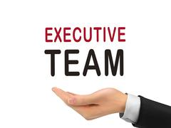 Executive team words holding by realistic hand Stock Illustration