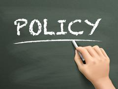 Stock Illustration of policy word written by hand