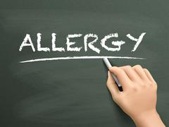 allergy word written by hand - stock illustration