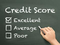 Stock Illustration of credit score survey written by hand