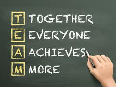 together everyone achieves more written by hand - stock illustration