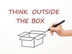 Think outside the box drawn by human hand Stock Illustration