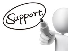 Stock Illustration of support word written by 3d man