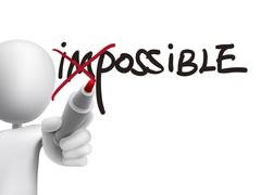 3d man turning the word impossible into possible - stock illustration