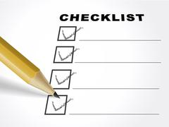 tick placed in check box with pencil - stock illustration