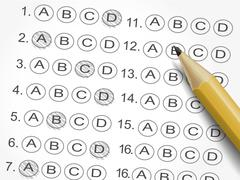 Multiple choice answer sheet survey with pencil Stock Illustration