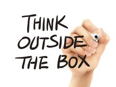 Think outside the box words written by hand Stock Illustration