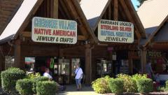 native american craft shops, cherokee village, nc, usa - stock footage