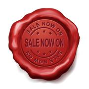 sale now on red wax seal - stock illustration