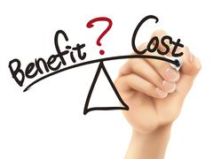balance between benefit and cost written by 3d hand - stock illustration