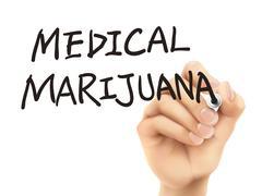 Medical marijuana words written by 3d hand Stock Illustration