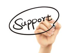 Support word written by 3d hand Stock Illustration