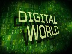 Stock Illustration of digital world words isolated on digital background