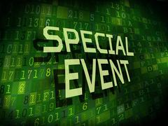 Special event words isolated on digital background Stock Illustration