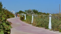 Beach path Miami tilt shift Stock Footage
