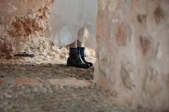 Black combat boots bride Stock Photos