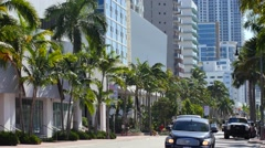 Collins Ave 68th St South view Stock Footage