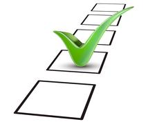 green tick marking on the check box - stock illustration