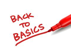 the words back to basics with a red marker - stock illustration