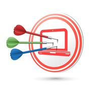 Computer icon target with darts hitting on it Stock Illustration