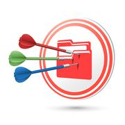 File icon target with darts hitting on it Stock Illustration