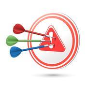 Warning icon target with darts hitting on it Stock Illustration