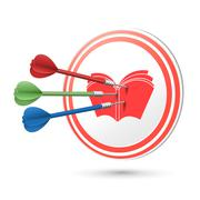 education concept target with darts hitting on it - stock illustration