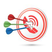 Contact us concept target with darts hitting on it Stock Illustration