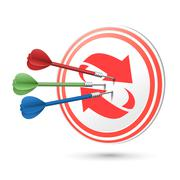 refresh concept target with darts hitting on it - stock illustration