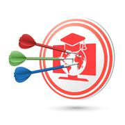 online education concept target with darts hitting on it - stock illustration