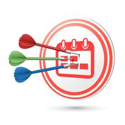calendar icon target with darts hitting on it - stock illustration