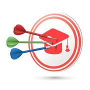 Graduation cap icon target with darts hitting on it Stock Illustration