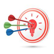 Idea concept target with darts hitting on it Stock Illustration