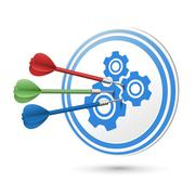 Cooperation concept target with darts hitting on it Stock Illustration