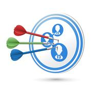 Stock Illustration of customer satisfaction concept target with darts hitting on it