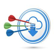 Cloud computing icon target with darts hitting on it Stock Illustration