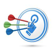 Touch concept target with darts hitting on it Stock Illustration